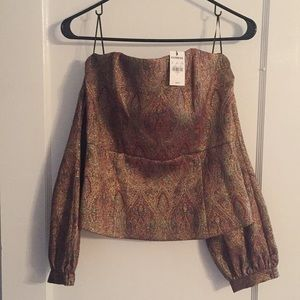 Glittery, off the shoulder long sleeve